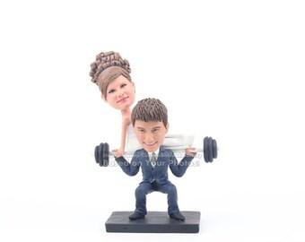 Wedding cake topper funny, custom wedding cake toppers, Custom Weightlifting cake topper, Funny wedding cake topper