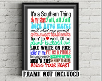 Southern Sayings, southern quotes, art print, bless your heart, southern saying, southern decor, housewarming gift, birthday gift