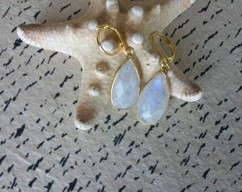 Rainbow Moonstone Teardrop Earrings Gold Vermeil Long Rainbow Moonstone Earrings Genuine Moonstone Dangle Earring Blue Flash Earring E0123