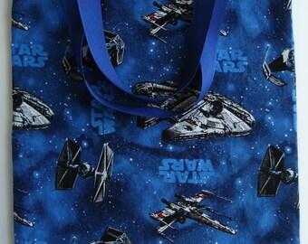 Star Wars Tote Bag - Small Cotton Tote Bag - Child Tote Bag - Trick or Treat Bag - Star Wars Gift Bag - Blue Tote Bag