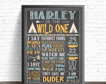 Wild One First Birthday Chalkboard Sign / Tribal Party Decorations / Arrows and Feathers / Boho Baby Birthday / Printable Poster