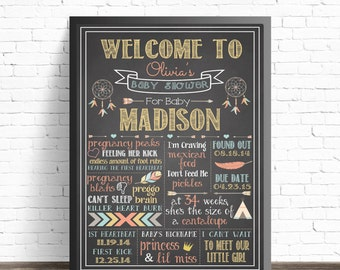 Boho Baby Shower Chalkboard Sign /  Baby Shower Decorations / Hippie Nursery Decor / Arrows and Feathers Nursery / Tribal Party Decor