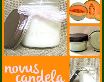 Mason Jar Candle - Soy Candle - Soy Scented Candle - Melon Candle - Jar Candle- Housewarming Gift - Hostess Gift - Just Because Gift  4 8 oz