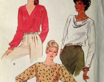 Vogue 7435 - 1990s Back Button Blouse with V or Drape Neck - Size 14