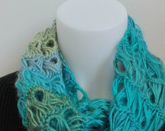 Woman's Crochet Broomstick lace Infinity Scarf | Ready to Ship | Aqua