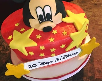 Mickey Mouse Face Cake Topper & Customized Sign