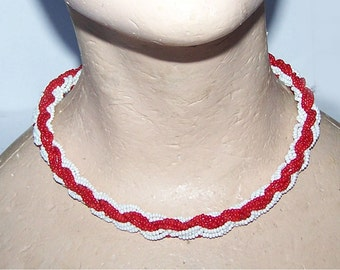 Red Necklace / White Necklace / Beaded / Braided / Rope / Necklace / Choker