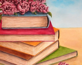 ORIGINAL Watercolor Painting – Vintage Books (11''x14'') NOT A PRINT!!!