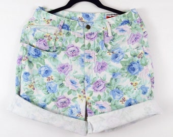 "M-L • 1990's • Bennini ""Not Guilty"" USA High Waisted Floral Jean Shorts"