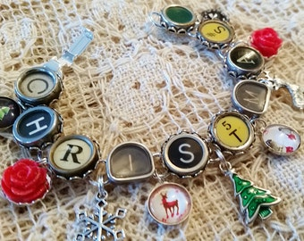 Christmas Typewriter Key Bracelet, Antique Typewriter Jewelry, Charm Bracelet, Holiday Jewelry, Green and Red Bracelet, Christmas