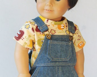 Denim overalls for 18 inch boy dolls with American Girl style body