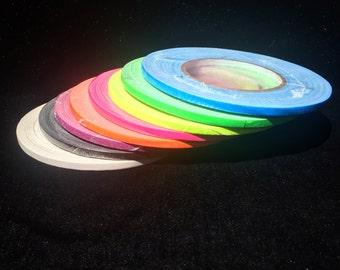 "1/4"" Gaffer Tape- Grip Tape- 8 Colors- 55 Yard Rolls- Hula Hoop Tape- uv Yellow, uv Green, uv Pink, uv Orange, uv blue, black, white, purple"