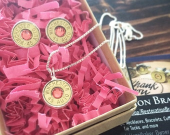 "Gift Set Winchester 45 Auto Bullet Earrings and 18"" Necklace matching Set with Pink Swarovski Crystals"