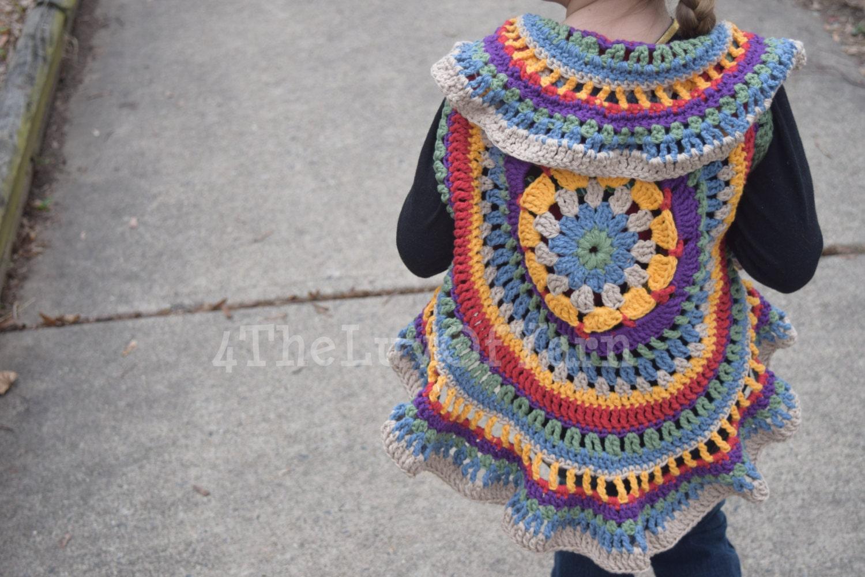 Free Crochet Pattern For Mandala Vest : Crochet Mandala Vest Circle Vest Girls Crochet Circle Vest