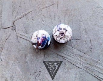 Pair suicide squad plugs image wood ear tunnels 4,5,6,8,10,12,14,16,18,20,22-60mm;6g,4g,2g,0g,00g;1/4,5/16,3/8,1/2,9/16,5/8,3/4,7/8,1 1/4,1""