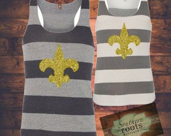 Striped fleur de lis Tank, Saints, Nola