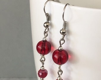 Red dangle earrings, red drop earrings, red earrings, valentine earrings