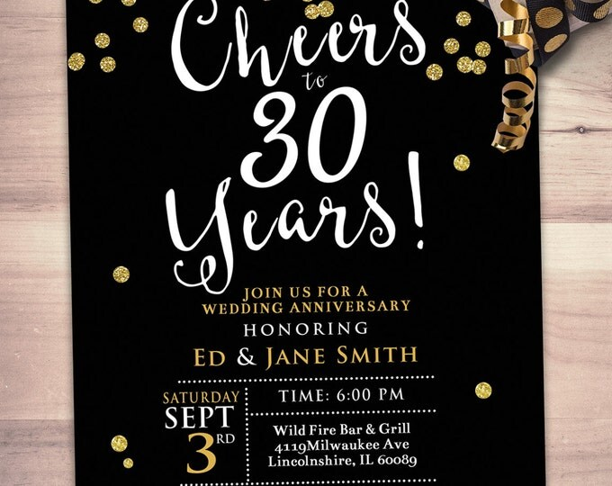 Anniversary Party Invite,  cheers and beers, save the date, wedding invitation, engagement, shower invite, wedding shower, bridal shower