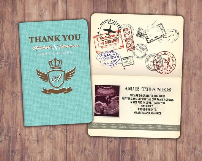 Thank you card, passport, passport invitation, travel theme, travel party, travel shower, Oh the places you will go! Graduation