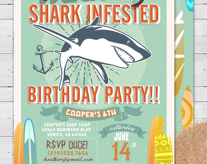BIRTHDAY INVITATIONS LyonsPrints – Shark Invitations Birthday Party