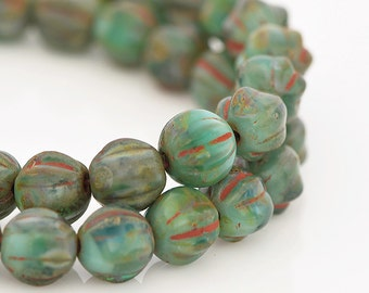 Green Melon Beads with Picasso Finish, Round Green Glass Beads, Green Glass Melon Beads with Brick Red Picasso, 6mm - 25 beads (MEL-02)