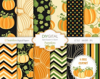 Pumpkins- 12 Seamless digital papers- 3 Free Pumpkin clipart included- Fall backgrounds, Halloween patterns, Thanksgiving digital papers