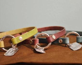 Minimalist Leather Tag Collar