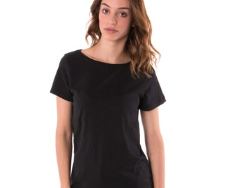 Womens Black Basic Fashion Tee