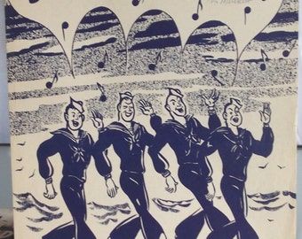 Bell Bottom Trousers, Vintage Sheet Music, Naval Military Song, Blue and White Cover Art, Wartime Music, 1944