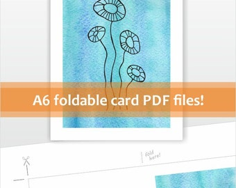 DIY Printable card file. Instant download for printing at home. Abstract flowers line art card. Blank cards. Blue, neutral.