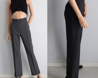 Tailored grey pants trousers, pinstriped stripey, wool, high waisted, straight leg, work pants, small, waist 27