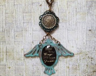 """Turquoise Bird Pendant Necklace:""""Spread Your Wings Catch Your Dreams""""&""""Francaise 1808 Republique"""" Coin,Filigreed Turquoise Frame+Rhinestones"""
