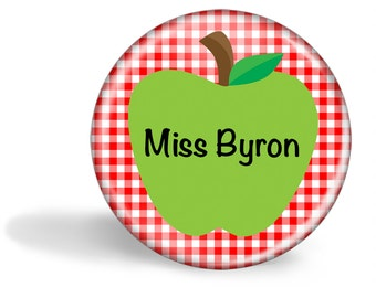 Teacher Magnet Personalised Green Apple on Red Gingham 5.7cm (2.25 inches)
