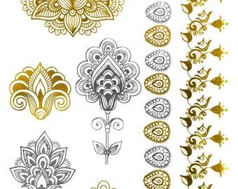 Metallic Indian Henna Temporary Tattoo Gold Silver Holiday Gift Present Flash Tattoos Metallic Tattoos Henna Temporary Tattoos