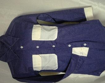 Kennington Ken-Prest Western Shirt Purple Rockabilly Contrast Block