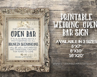 Open bar sign, Rustic wedding sign, Wedding reception, printable wedding bar decorations, rustic open bar sign, INSTANT DOWNLOAD!