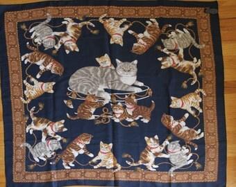 Purrrrrfect kitty cat scarf / shawl / hankerchief - vintage