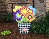 Flower Pot Garden Flag, Summer garden flag, flower yard flag, whimsical yard flag,  Digital Printing Lightweight printed PVC Home Decoration