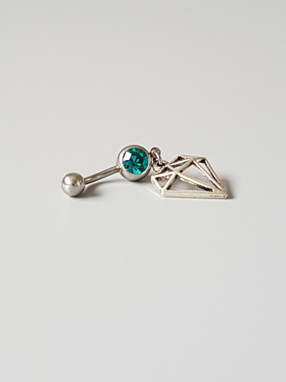 emerald belly button ring diamond charm surgical steel. Black Bedroom Furniture Sets. Home Design Ideas