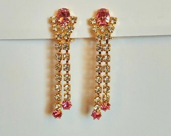 Vintage PINK RHINESTONE EARRING  / Glamorous earrings / Gold Plated / Prong set / Unused Old Factory Stock / Gift Boxed