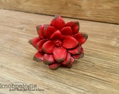 Distressed Red Flower Knob - Lotus Daisy or Rose - Unique Resin Molded Floral Knob - Country Rustic Red
