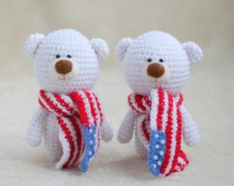 Crochet teddy bear in the American flag scarf-small teddy bear,personalized teddy bear,4th of July gift idea,custom teddy bear MADE TO ORDER