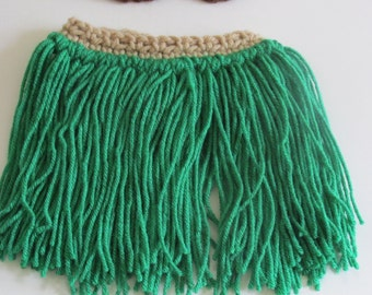 Baby hula grass skirt photo prop~green/tan-Newborn up to 4T~crochet luau birthday party costume~Free Shipping Ready to ship in 3 day...