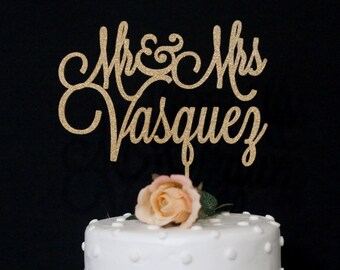 Custom Mr and Mrs Thin Wedding Cake Topper - Glitter Gold