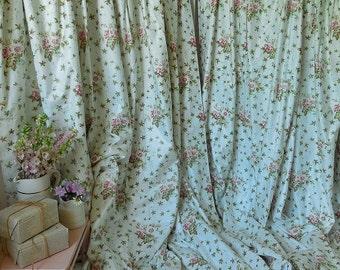 Pair of pretty vintage curtains, chintz curtains, floral curtains