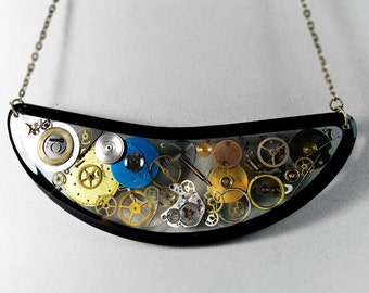 Black Steampunk Necklace with gears and cogs in resin, clockwork jewelry, steampunk art, statement bib necklace