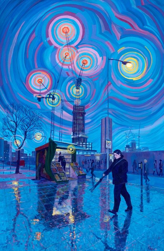 "Crane Lights, print 12X16"""