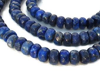8mm Large Lapis Faceted Rondelle Beads - Full strand / 80 Beads