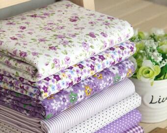 Purple series floral dot stripe cotton fabric bundle patchwork fabric bundle Quilted bundle doll's clothes fabric fat quarter  (7pcs/set)