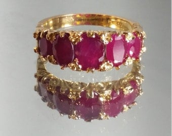 9K Solid Yellow Gold Victorian Style Ruby Band Ring Retro Vintage